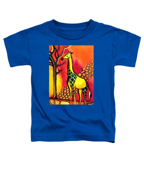 Toddler T-Shirt featuring the painting Giraffe With Fire  by Dora Hathazi Mendes