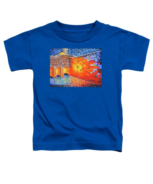 Toddler T-Shirt featuring the painting Wailing Wall Greatness In The Evening Jerusalem Palette Knife Painting by Georgeta Blanaru