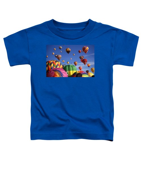 Beautiful Balloons On Blue Sky - Color Photo Toddler T-Shirt