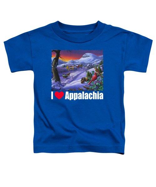 I Love Appalachia T Shirt - Small Town Winter Landscape 2 - Cardinals Toddler T-Shirt