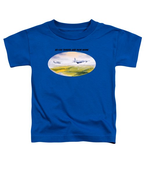 Kc-130 Tanker Aircraft And Pave Hawk With Banner Toddler T-Shirt by Bill Holkham