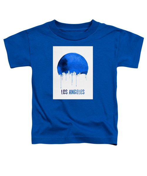 Los Angeles Skyline Blue Toddler T-Shirt by Naxart Studio