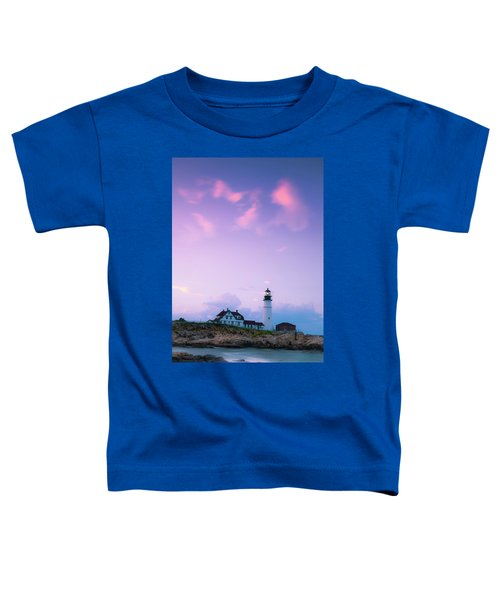 Maine Portland Headlight Lighthouse In Blue Hour Toddler T-Shirt