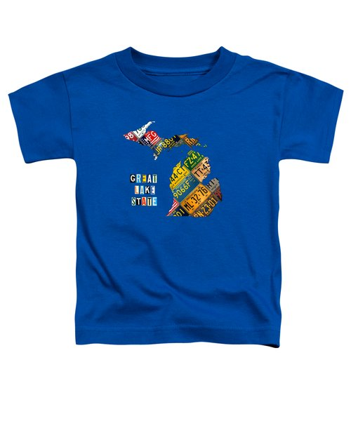 Michigan License Plate Map Great Lake State With Vintage Blue Plate Background Edition Toddler T-Shirt