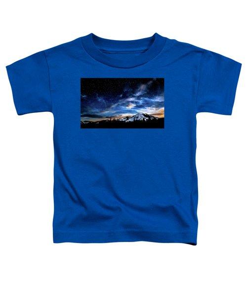 Moon Setting Behind Mt Rainier  Toddler T-Shirt