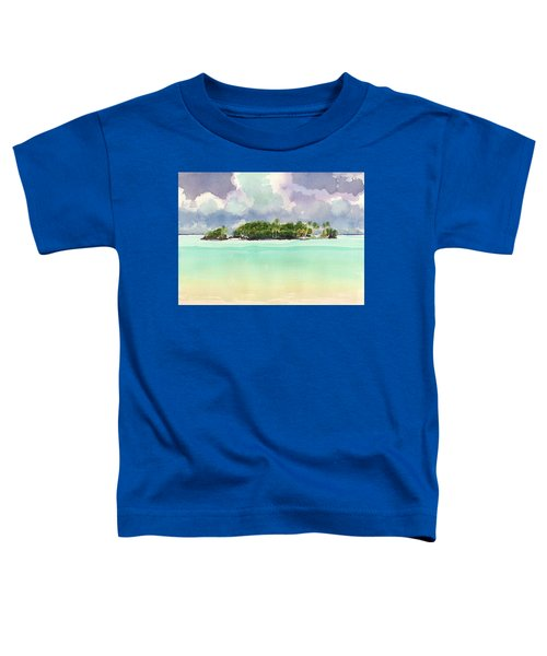 Toddler T-Shirt featuring the painting Motu Rapota, Aitutaki, Cook Islands, South Pacific by Judith Kunzle