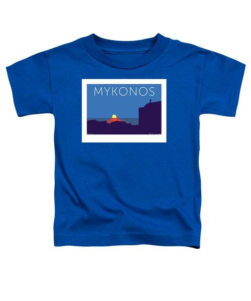 Mykonos Sunset Silhouette - Blue Toddler T-Shirt