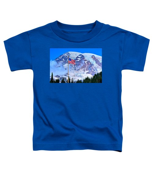 Old Glory At Mt. Rainier Toddler T-Shirt