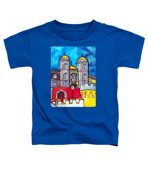 Toddler T-Shirt featuring the painting Pena Palace In Sintra Portugal  by Dora Hathazi Mendes