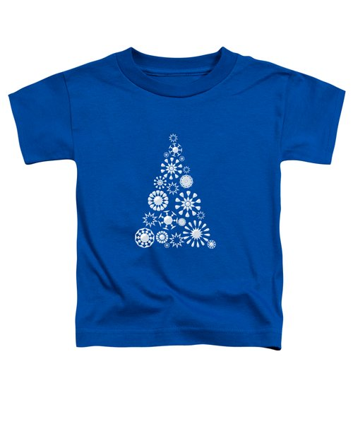 Pine Tree Snowflakes - Dark Blue Toddler T-Shirt