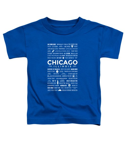Places Of Chicago On Blue Chalkboard Toddler T-Shirt by Christopher Arndt
