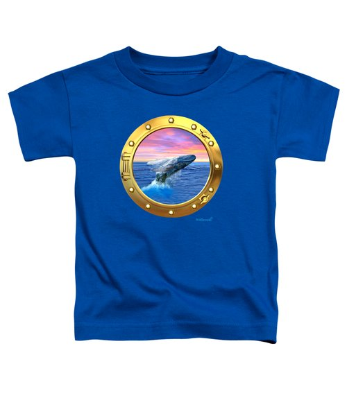 Porthole View Of Breaching Whale Toddler T-Shirt by Glenn Holbrook