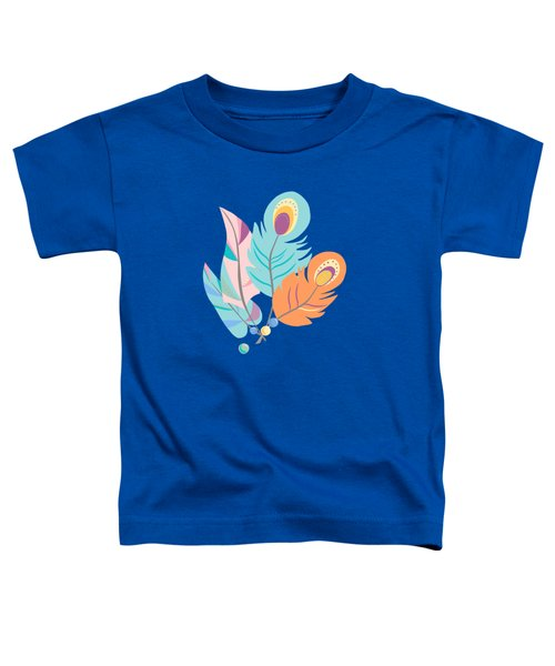 Pretty Boho Peacock Feather Pattern Toddler T-Shirt