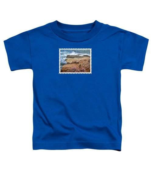 Rocks And Plants In The Central California Surf Oil Painting Toddler T-Shirt