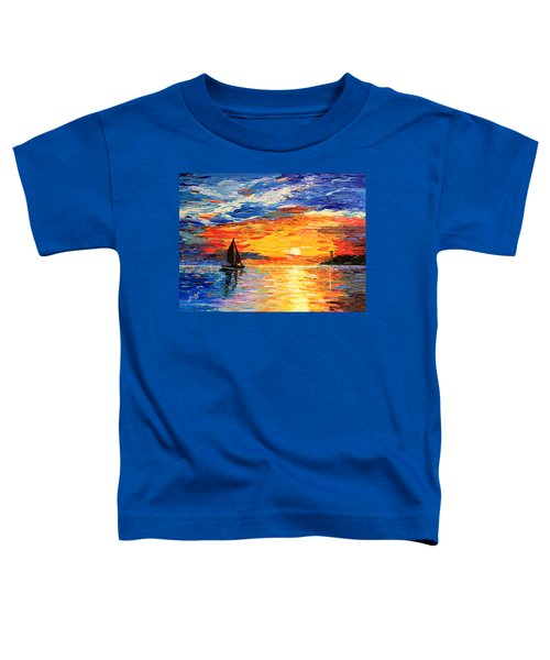 Toddler T-Shirt featuring the painting Romantic Sea Sunset by Georgeta  Blanaru