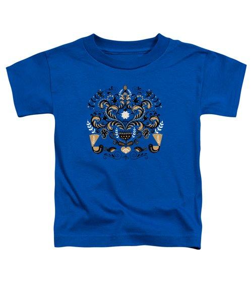 Scandinavian Floral Decoration With Birds Toddler T-Shirt