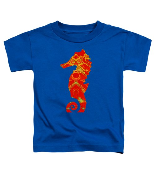 Seahorse Turquoise And Orange Left Facing Toddler T-Shirt