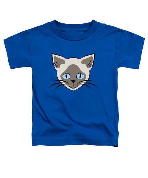 Siamese Cat Face With Blue Eyes Light Toddler T-Shirt