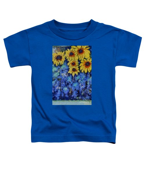 Six Sunflowers On Blue Toddler T-Shirt