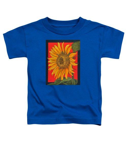 Da153 Sunflower On Red By Daniel Adams Toddler T-Shirt