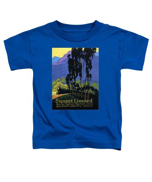 Sunset Limited - Steam Engine Locomotive Through The Forest Highlands - Vintage Railroad Advertising Toddler T-Shirt