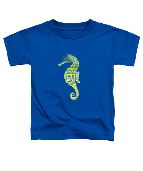 Teal Green Seahorse - Square Toddler T-Shirt by Amy Kirkpatrick