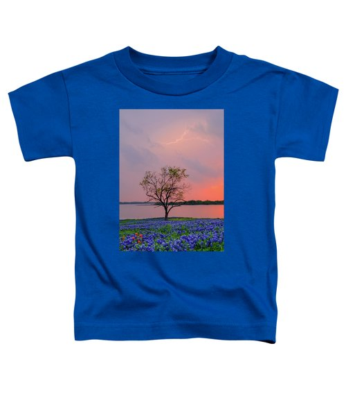 Texas Bluebonnets And Lightning Toddler T-Shirt