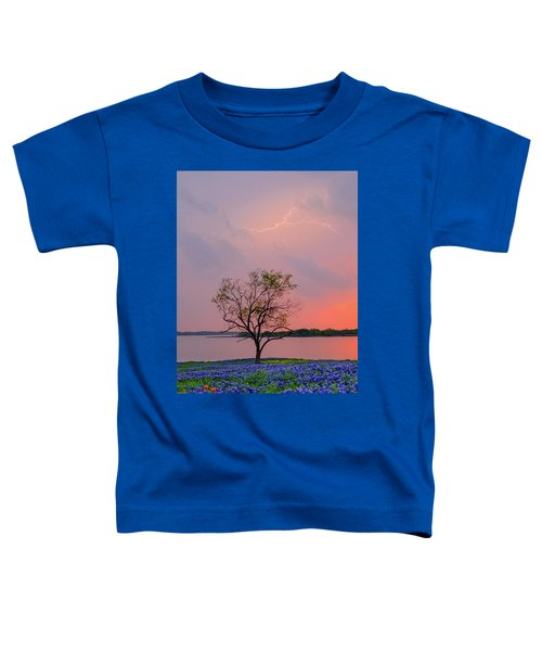 Texas Bluebonnets And Lightning Toddler T-Shirt
