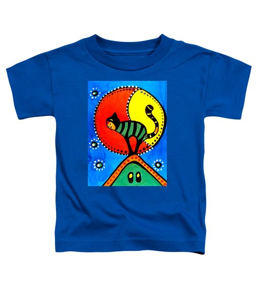 Toddler T-Shirt featuring the painting The Cat And The Moon - Cat Art By Dora Hathazi Mendes by Dora Hathazi Mendes
