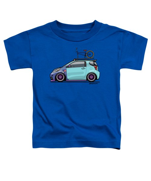 Toyota Scion Iq Slammed With Bmx Bike Toddler T-Shirt