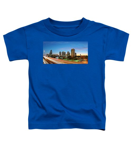 Twilight Panorama Of Uptown Houston Business District And Galleria Area Skyline Harris County Texas Toddler T-Shirt