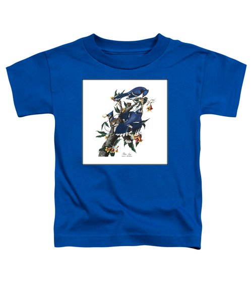 Toddler T-Shirt featuring the digital art Vintage Blue Jays Audubon by Joy McKenzie