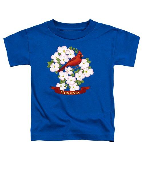 Virginia State Bird Cardinal And Flowering Dogwood Toddler T-Shirt