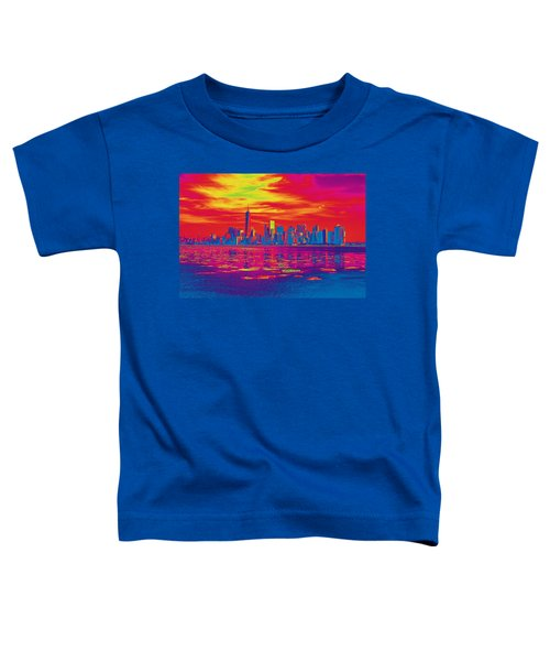 Vivid Skyline Of New York City, United States Toddler T-Shirt