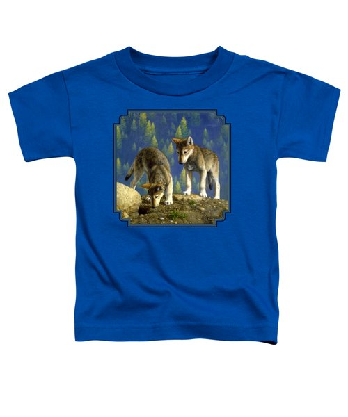 Wolf Pups - Anybody Home Toddler T-Shirt by Crista Forest
