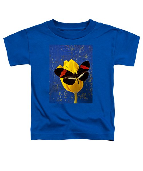 Yellow Tulip With Orange And Black Butterfly Toddler T-Shirt