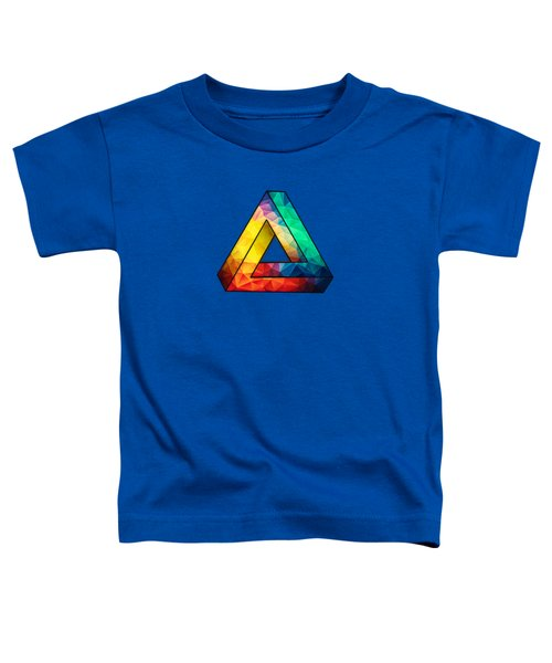 Abstract Polygon Multi Color Cubism Low Poly Triangle Design Toddler T-Shirt