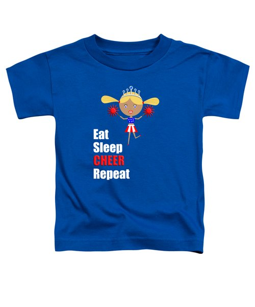Cheerleader And Pom Poms With Text Eat Sleep Cheer Toddler T-Shirt