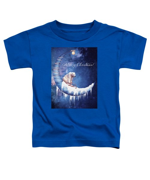 Christmas Card With Moon And Bear Toddler T-Shirt