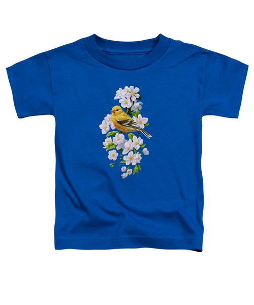 Female American Goldfinch And Apple Blossoms Toddler T-Shirt