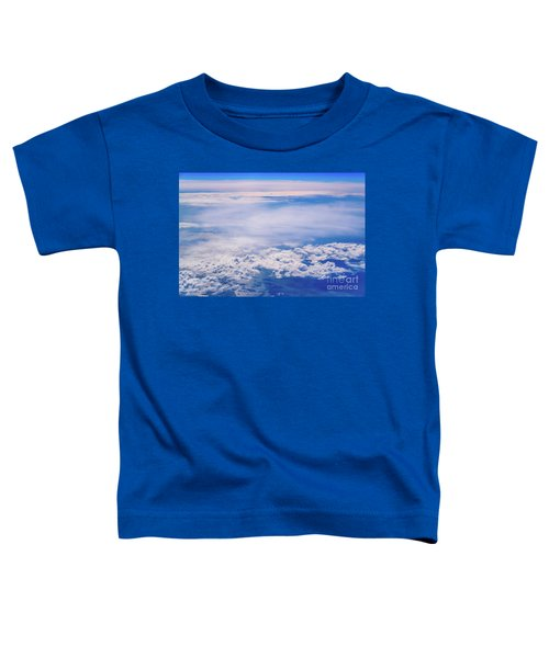Intense Blue Sky With White Clouds And Plane Crossing It, Seen From Above In Another Plane. Toddler T-Shirt