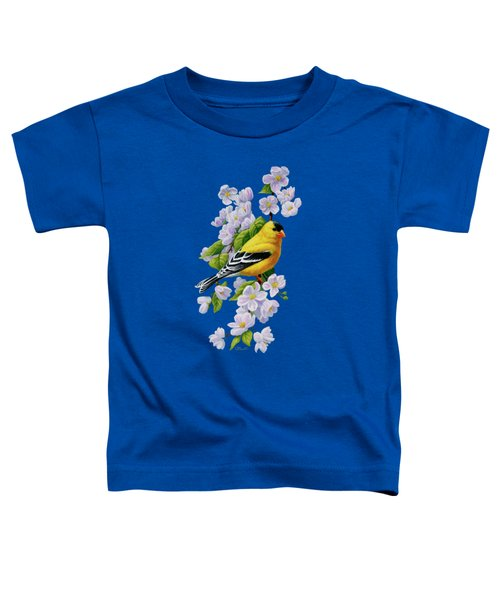Male American Goldfinch And Apple Blossoms Toddler T-Shirt