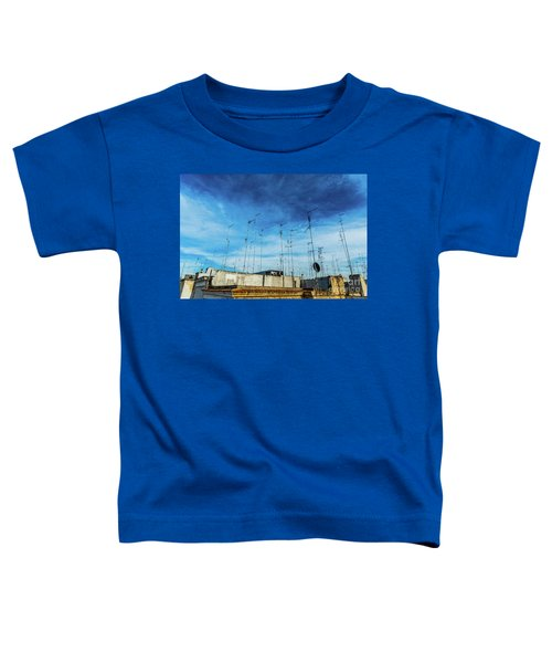 Old Buildings In The City Of Bari With Roofs Full Of Old Televis Toddler T-Shirt