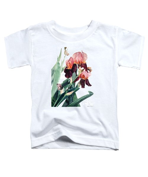 Watercolor Of A Pink And Maroon Tall Bearded Iris I Call Iris La Forza Del Destino Toddler T-Shirt