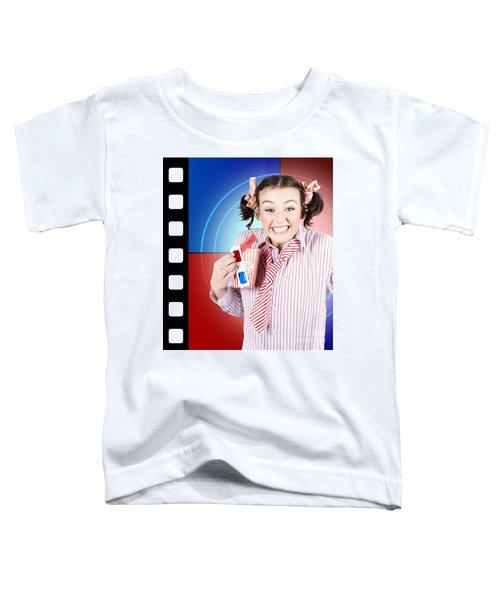 Overjoyed Nerd Woman At 3d Movie Premier Toddler T-Shirt