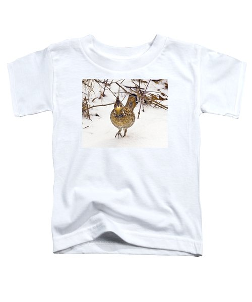 Ruffed Grouse Walking On Snow - Horizontal Toddler T-Shirt