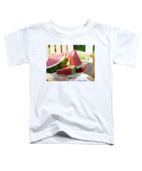 Watermelon Wedges In A Bowl Of Ice Cubes Toddler T-Shirt