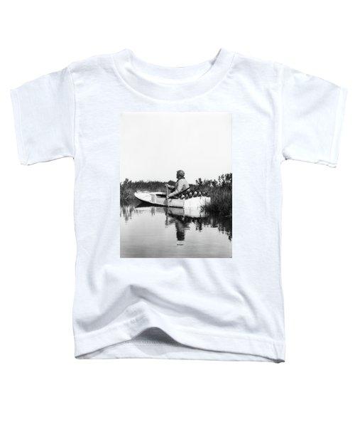 1920s Man Hunter Paddling Small Boat Toddler T-Shirt