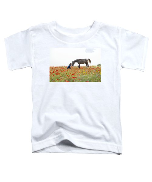 Three At The Poppies' Field... 4 Toddler T-Shirt by Dubi Roman