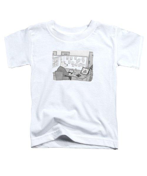 A Bear Dressed As An Office Worker Sits Toddler T-Shirt